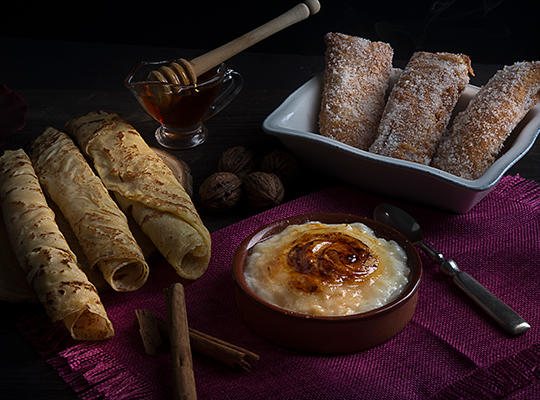 Frixuelos (Asturian crepes), casadielles (a nut filled pastry) and rice pudding