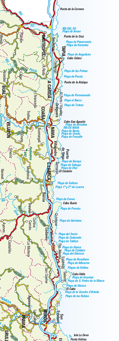 Map of western beaches